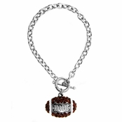 Erin's Rhinestone Football Charm Toggle Bracelet