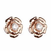 Esmerelda's Rose Gold Flower Stud CZ Earrings