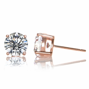 Estefany's 8mm CZ Stud Earrings - Rose Gold Plated