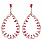 Eugenia's Fancy Rose Gold and Red CZ Tear Drop Earrings