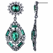 Evara's Fancy Antique Simulated Emerald  Rhinestone Dangle Earrings