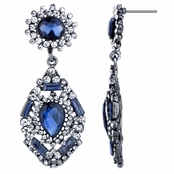 Evara's Fancy Antique Sapphire Rhinestone Dangle Earrings
