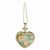 Everyly's Gold Dried Flower Glass Heart Locket Necklace - Orange and Green