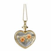 Everyly's Gold Dried Flower Glass Heart Locket Necklace - Peach and Yellow