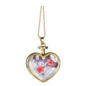 Everyly's Gold Dried Flower Glass Heart Locket Necklace - Red and Purple
