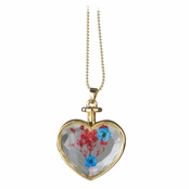 Everyly's Gold Dried Flower Glass Heart Locket Necklace - Red and Turquoise