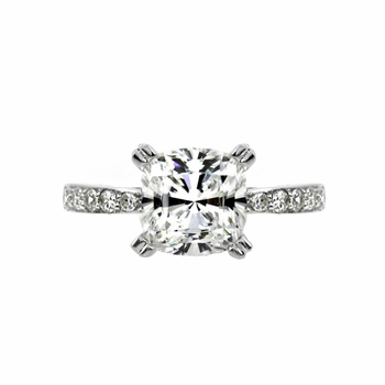 Exclusive 14K Rings: Lena's Cushion Cut CZ Promise Ring - 14K White Gold