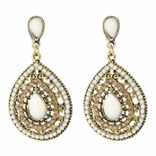 Ezola's Bohemian Ethnic Peardrop Beaded Rhinestone Dangle Earring