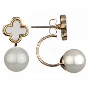 Fabiola's Stimulated Pearl and Flower Front Back Earrings