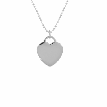 Faith's Heart Tag Necklace - Petite Silvertone