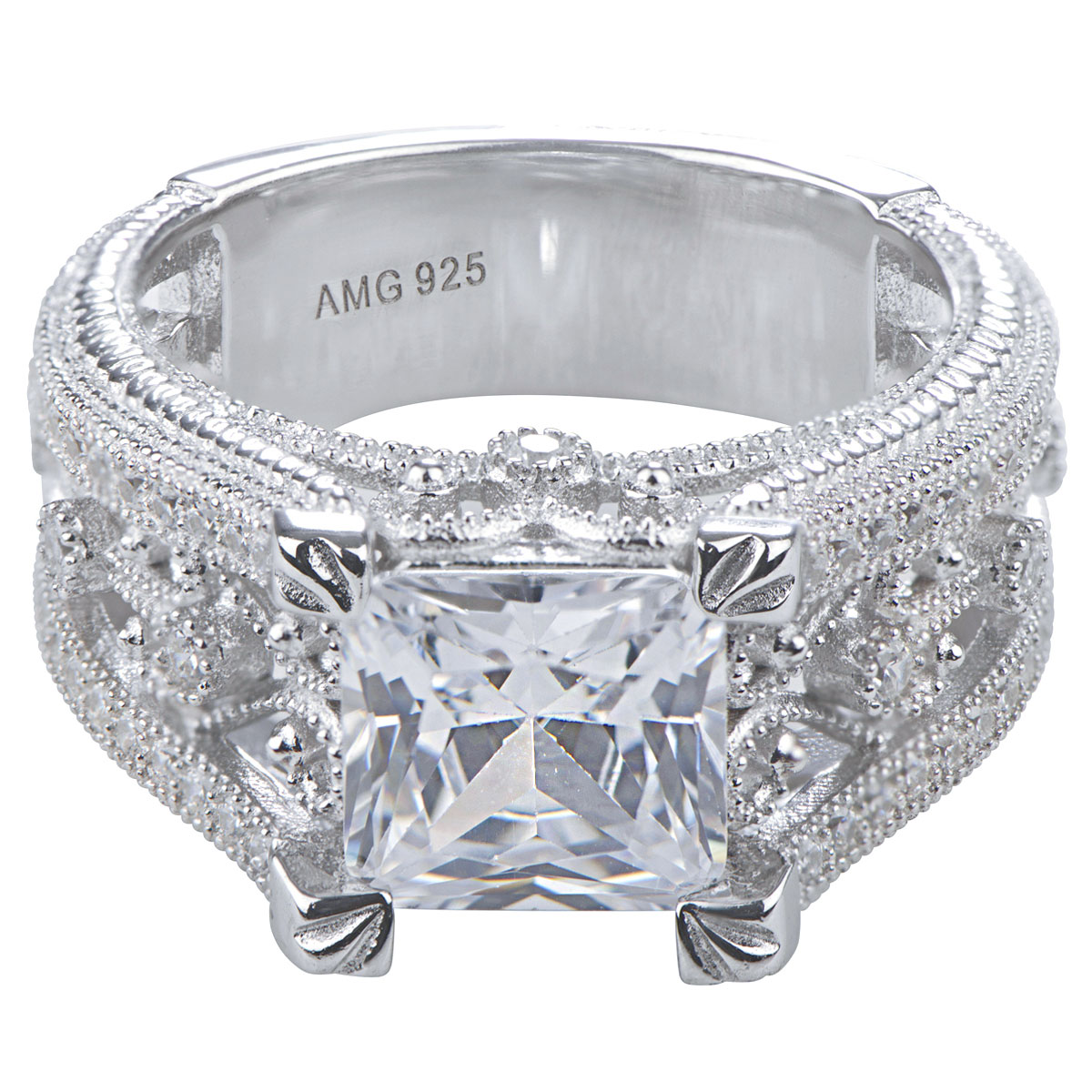 fallon s princess cut micro pave vintage engagement ring
