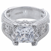Fallon's Princess Cut Micro Pave Vintage Engagement Ring
