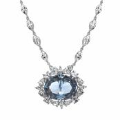 Faux Wish Diamond Necklace - Blue Topaz CZ