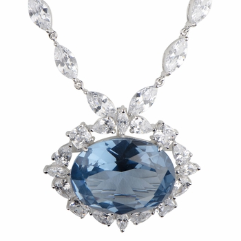 Faux Wish Diamond Necklace - Blue CZ