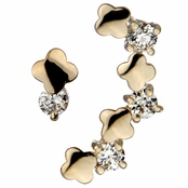 Fayina's Gold and CZ Flower Ear Cuff and Matching Stud Earring