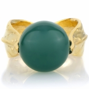 Felicy's Simulated Green Onyx Gold Tone Leaf Ring
