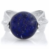 Felicy's Blue Stone Silvertone Leaf Ring