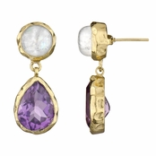 Fia's Goldtone Pear Drop Earrings - Imitation Moonstoon & Purple CZ