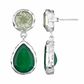 Fia's Silvertone Pear Drop Earrings - Imitation Green Amethyst & Onyx