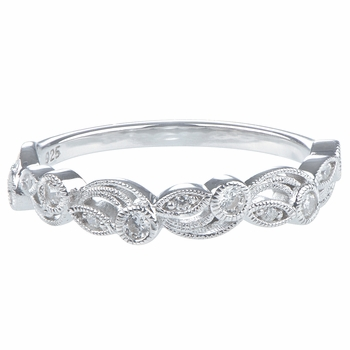 Fiona's Art Deco Cubic Zirconia Stackable Ring Band