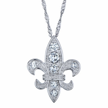 Fleur De Lis CZ Pendant with Singapore Chain - Large