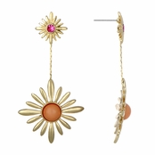 Flora's Pink & Gold Tone Sunburst Dangle Earrings