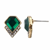 Francine's Geometric Simulated Emerald Crystal Stud Earrings
