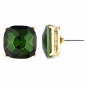 Gabriela's 14mm Cushion Stud Earrings - Green