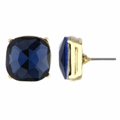 Gabriela's 14mm Cushion Stud Earrings - Navy