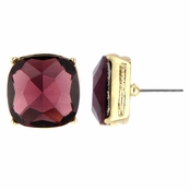 Gabriela's 14mm Cushion Stud Earrings - Purple