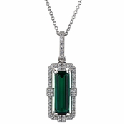 Gabrielle's Emerald Cut Green CZ Pendant Necklace