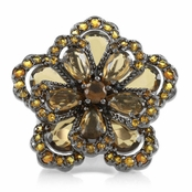 Gardenia's Chocolate and Citrine CZ Cocktail Ring