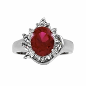 Gene's Oval Red CZ Estate Ring - Petite
