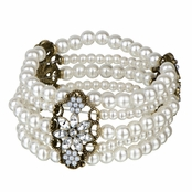 Geneva's Antique Flower Simulated Pearl Layered Stretch Bracelet