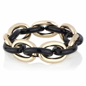Georgia's Goldtone & Black Chain Link Stretch Bracelet