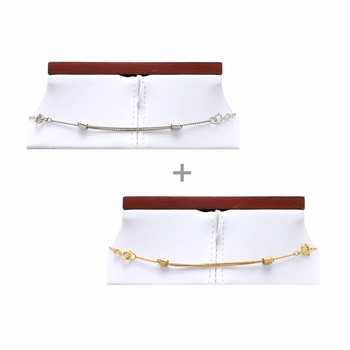 Gift Set: 2 Adjustable Necklace Extenders - Silvertone & Goldtone