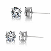 Gift Set: 2 Pairs Jessica's CZ Stud Earrings - 2.5 TCW