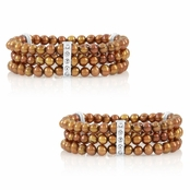 Gift Set: 2 Regina's Freshwater Cultured Pearl Bracelets- Chocolate