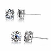 Gift Set: Jessica's CZ Stud Earrings - 2.5 TCW & 4 TCW