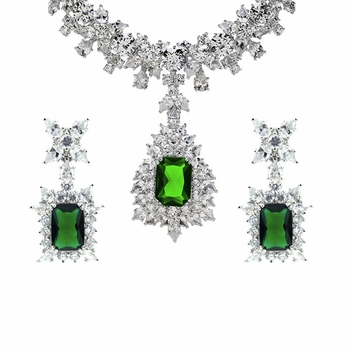 Night at the Oscars Green CZ Necklace Earring Set