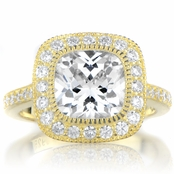 Gina's Vintage Style Cushion Cut CZ Engagement Ring - Goldtone