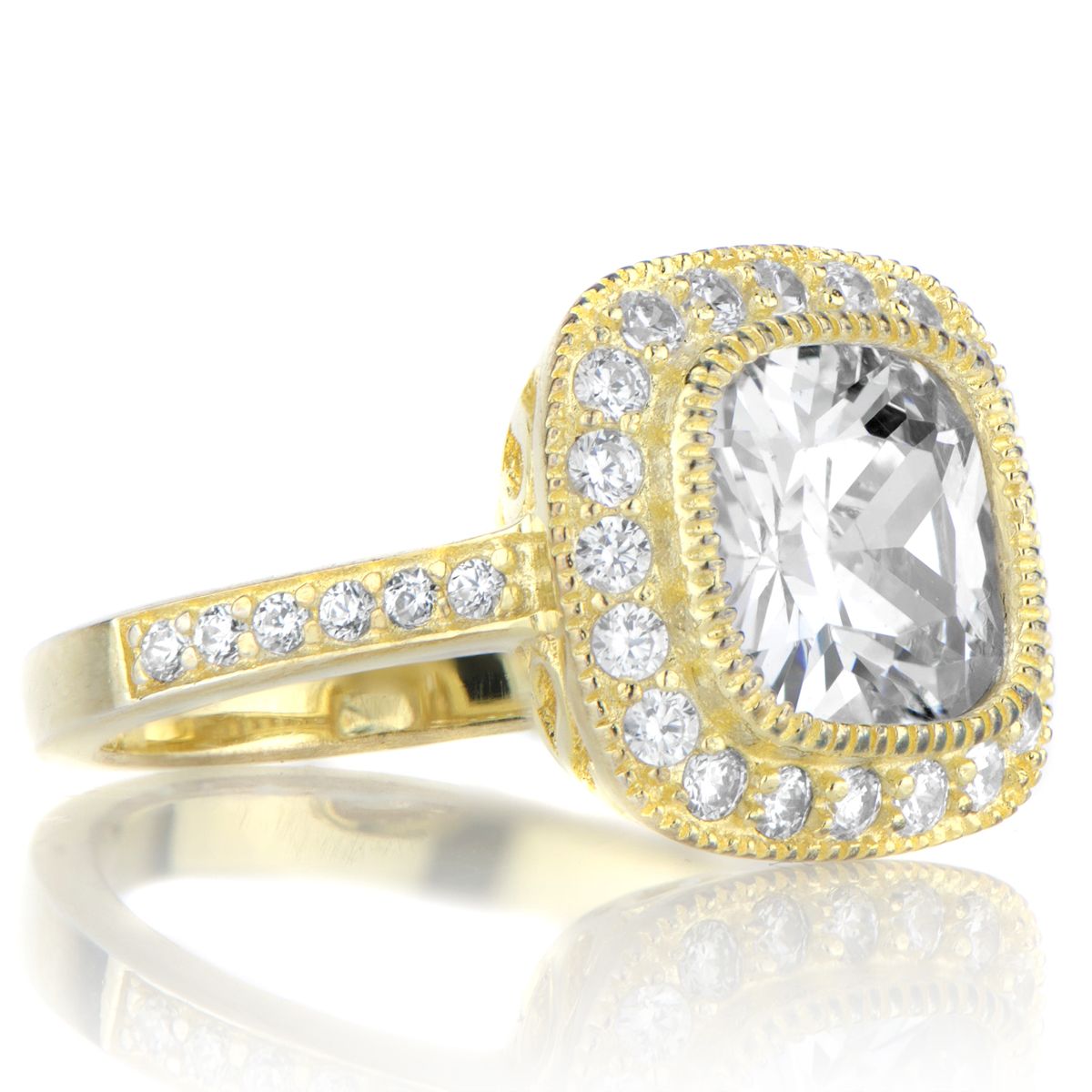 Cushion Cut Vintage Gold Engagement Rings