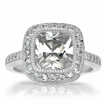 Gina's Vintage Style Halo Cushion Cut CZ Engagement Ring
