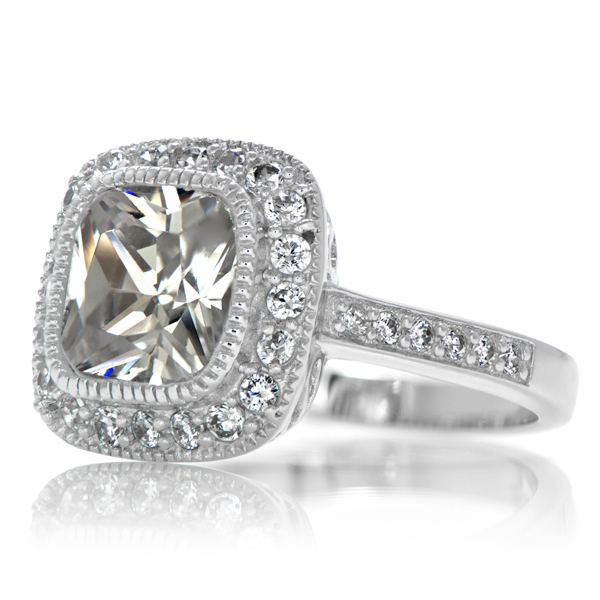 s vintage style halo cushion cut cz engagement ring