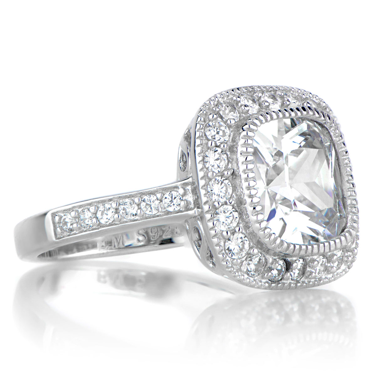 Gina s Vintage Style Halo Cushion Cut CZ Engagement Ring