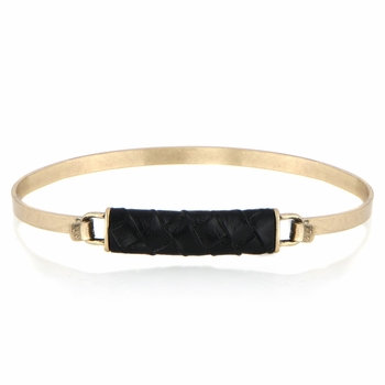 Gisele's Black and Goldtone Leather Bangle Bracelet