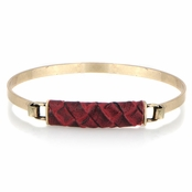 Gisele's Red and Goldtone Leather Bangle Bracelet