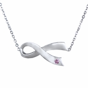 Sterling Silver Breast Cancer Awareness Sideways Ribbon Necklace