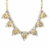 Gloria's Gold Rhinestone Bib Statement Necklace