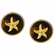 Gloria's Round Starfish Goldtone Tortoiseshell Stud Earrings